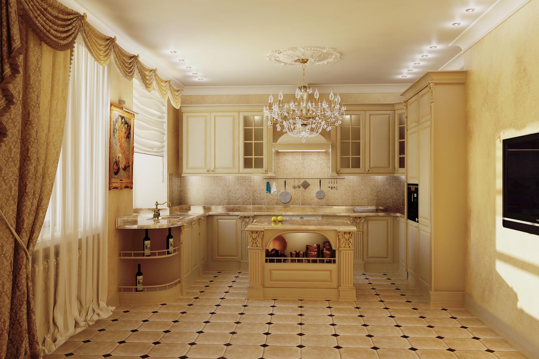 Дизайн кухня столовая классика
